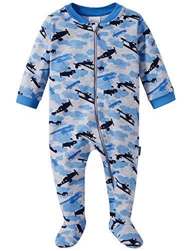 Schiesser Schiesser Jungen Zweiteiliger Schlafanzug Baby Anzug mit Fuß Grau-Mel. 202, 56 (Herstellergröße: 056)