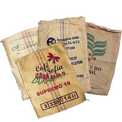 us Jute, groß aus recyceltem Kaffee - Ideal für Garten Dekoration Basteln - 100% ökologische Sackleinen Vintage - Packung mit 4 Stück von 70 x 100 verschiedenen Designs. ()