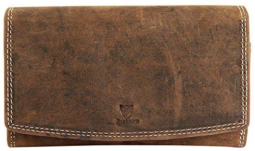 Pierrini PR0005 Echtleder Damen Portemonnaie Vintage Stil Brieftasche Braun 3x10x16 Zentimeter