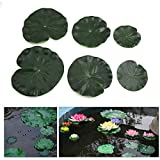 sourcingmap® 6Pcs Green Foam Lotus Leaves Floating Aquatic Plant Ornament for Aquarium Pond