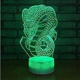New Creative Snake 3D Lampada Risparmio energetico Elettricità Notte Lampada Cabina Vendita calda Led Colorchange Lampada per bambini
