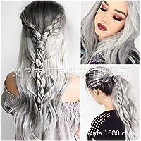 Parrucca nonna grigio fumo capelli lunghi grigi capelli ricci cosplay  Lolita grande set di parrucche da 18e94951352d