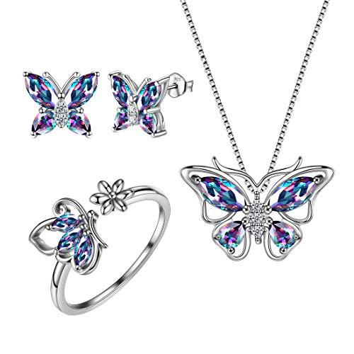 Aurora Tears 925 Sterling Silber Schmetterling Halskette Ohrringe Ringe Schmuck Set Dating Anhänger Geschenke für Frauen und Mädchen DS0039M