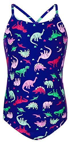AIDEAONE Mädchen Badeanzug Dinosaurier Bedruckter Einteiliger Badeanzug 7-8 Jahre (Für Dinosaurier, Mädchen)