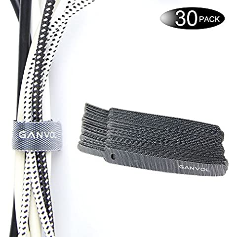 Ganvol (30 Pack) 11.5 cm Short Self Gripping Hook & Loop Cable Ties for Travel/Storage/Desk, High quality Self Adhesive Strips, Remove Refit Quickly, Cord Fastener, Electrical Lead Tie, Bundling