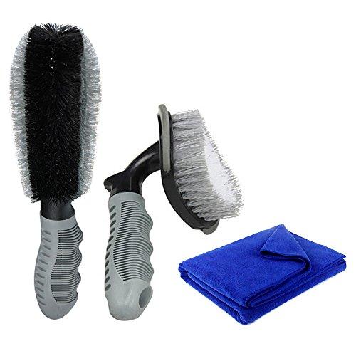 Auto Felgenbürste Set, HiKeep Waschbürste mit ergonomischem, rutschfestem Griff zur schonenden Reinigung für Alufelgen, Stahlfelgen Reifen, und Haushalt (3 Stück)