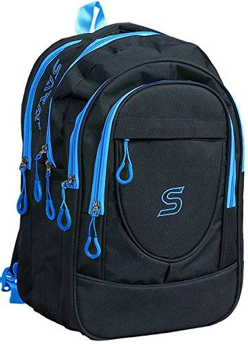 SARA Polyester 30 Ltr Black & Sky Blue School Backpack