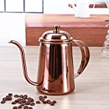 KITCHY 1PC 650ml Vintage Coffee Pot Swan Neck Mouth Stainless Steel Coffee Kettle Drip Coffee Maker Pot Plating Colorful Coffeeware: Rose Gold