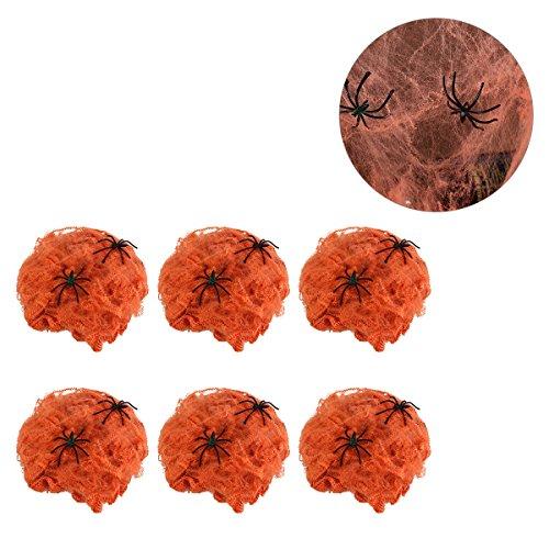 ruselige Halloween-Spinnennetze Gurtband Spukhaus, Dekoration Requisite mit 2 Spinnen (Orange) ()