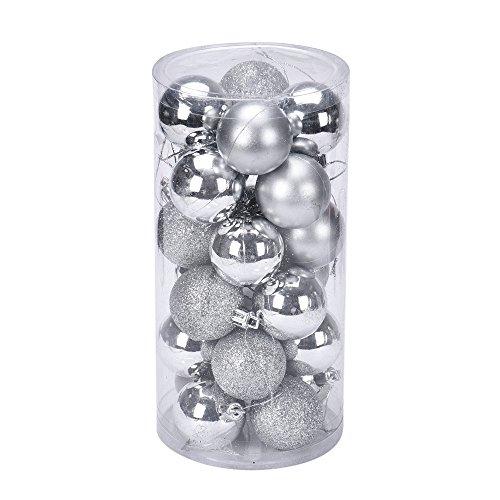Weisen Krippe Kostüm - Ansenesna Weihnachtenkugeln Deko Weihnachtsbaum Weihnachts Kugeln Glitzer 4cm 24 Stück Ball Für Festlich Party Zuhause Dekoration (Silber)