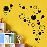 Ouneed® Wandaufkleber Wandtattoo Wandsticker , Bubbles Kreis entfernbare Wand Tapete Badezimmer Fenster Aufkleber Abziehbild Ausgangs DIY (Schwarz)