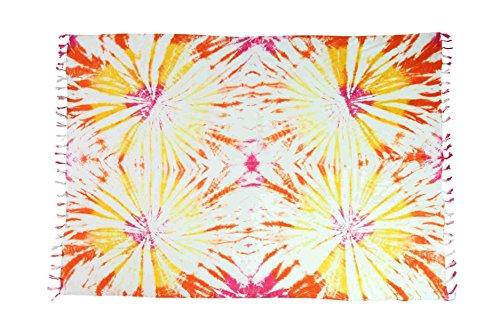 Ciffre Sarong Pareo Wickelrock Strandtuch Tuch Schal Wickelkleid Strandkleid Blickdicht Miami Beach - Buntes Batik Muster -