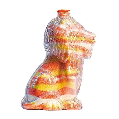 Sandkunstbastelflaschen mit roten Plastikstöpseln, einzigartige Löwenform, ideal für Sandkunstaktivitäten in Schulen oder auf Gemeindeveranstaltungen, Kinderfeiern drinnen oder im Freien. Leere Sandflaschen, die mit farbigem Sand aufgefüllt werden können (5er - Sand-souvenir-flasche