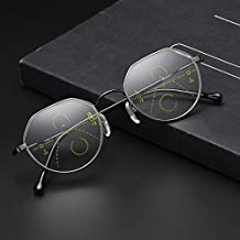 Bluelover Geometría Progresiva Multifocales Presbicia Lectura Gafas Marco Completo Resina Lente Vidrio - 2,0