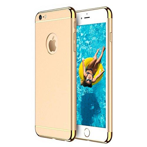 iPhone 6S, 6 Hülle, Conie Rückschale Hardcase Hybrid Schutzhülle Backcover Schlanke Handyhülle in Diamantschwarz Gold