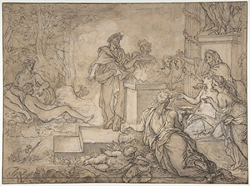 Louis de Boullogne the Elder - Sacrifice Offered before a Statue of Jupiter Kunstdruck (45,72 x 60,96 cm) (Jupiter-statue)