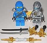 Lego Ninjago Figuren Blauer Ninja Jay und Zane Grau Silber und Waffen und bmg2000 Aufkleber