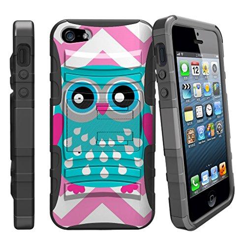 Fall für iPhone SE, 5S 5SE | iPhone 5/5S/SE Fall [Clip Armor] stoßfest Hybrid Schutzhülle w/Ständer + Bonus Holster Gürtelclip-Rot Schwarz Drachen, Blue Pink Owl