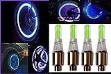 #10: SET OF 4 CAR,BIKE & CYCLE TIRE WHEEL BLUE COLOR LED VALVE CAP EXCELLENT QUALITY.