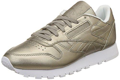 Reebok Classic Leather L Damen Niedrig Schuhe, Gold (Pearl Met-Grey Gold/White), 39 EU