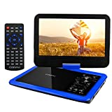 "COOAU 12.5"" Portable DVD Player with 360� Swivel Screen, 5 Hours Built-in Rechargeable Battery, Supports SD Card/USB/Sync TV with Remote Control and Game Controller, Direct Play in Formats AVI/RMVB/JPEG/MP3, Blue"