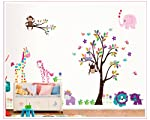 cute Animal giraffe owl Wall Sticker Home Decor Removable tree art Decals Kids Room decoration