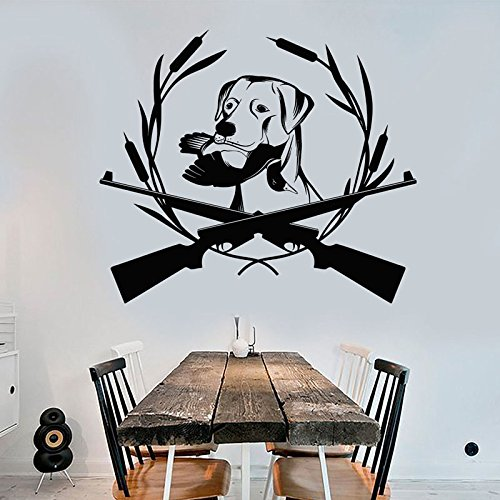 ufkleber Hund Dekoration Vinyl Wandtattoo Pistole Wildfowl Abnehmbare Selbstklebende Wandbild Wohnzimmer Moderne Z105 L 66x57 cm ()
