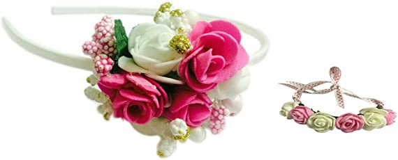Loops n knots White & Pink Floral Tiara hairband /Crown With Wrist Band/Puff Wrap For Girls & Women-Combo Pack