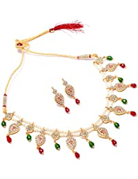 Jewar Mandi Necklace Set Handmade One Gram Two Gram Real Look Meena Work Fine Gold Plated Pearl Ruby Indian Jewelry...
