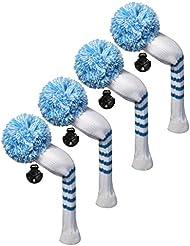 Scott Edward Housses de tête de club de golf hybride/utilitaires, 4 pièces emballées, rayures en tricot, fil Acrylique Double-layers en tricot, avec rotatif Nombre Tags, 9 couleurs en option, bleu