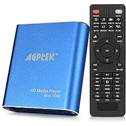 Lecteur multimédia HDMI, AGPTEK Mini Lecteur Multimédia Numérique 1080p Full HD Ultra HDMI Pour Lecteurs -MKV / RM- HDD USB Bleu