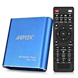 AGPTEK Media Player 1080P HD Digital Media Player - MKV/RM - HDD SD/USB HDMI Supporto HDMI CVBS e YPbPr Uscita Video con Telecomando e l'adattatore di Alimentazione 5V 2A - Blu
