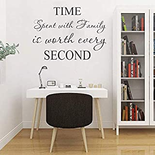 LAPOPNUT Wall Stickers 'time spent with family' Quote Series Black Lettering Removable Stickers Quotes and Sayings Words DIY Wall Art Sticker Home Décor Decoration Vinyl Wall Decal