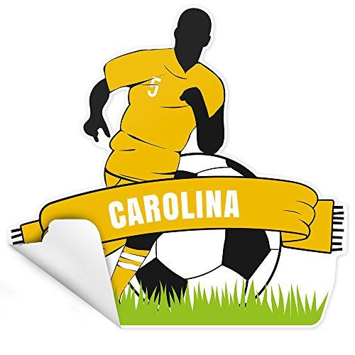 Eurofoto Tür-Aufkleber mit Namen Carolina und Fußball-Motiv gelb für Mädchen   Sticker für das Kinderzimmer   Größe: ca. 25x25cm