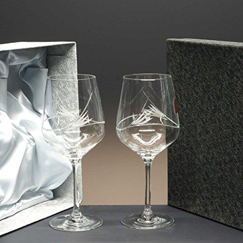 Set/Étui de 2 Coupes en Verre pour à vin ou à Eau, taillées à la Main, Collection Image.