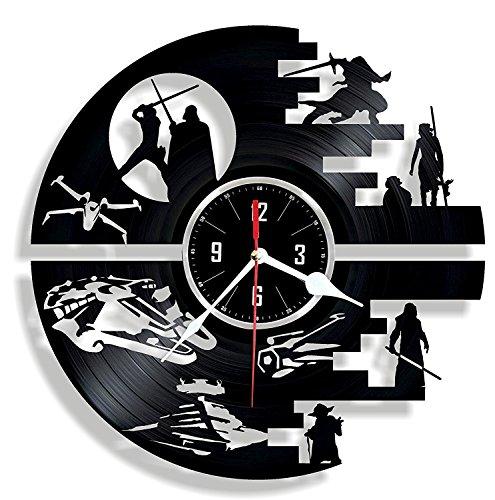 HMGift Death Star Vinyl Wanduhr-Tolles Geschenk für Geburtstag Jahrestag Oder Jede Andere Gelegenheit-Schöne Home Decor-Einzigartiges Design, Das aus Retro Vinyl Record One-button-record