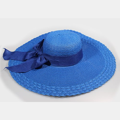 Zhangyong*massimo lungo il filtro bow tie cappello di paglia stetson ombrellone sunscreen hats, estate erba-cappello di paglia per un giorno può essere piegato , blu