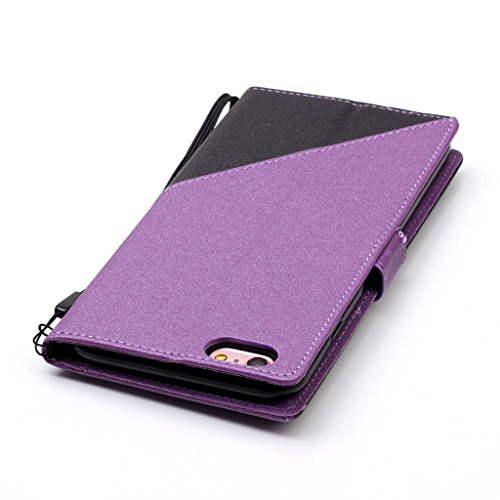 iphone 6s plus Hülle,Fodlon® Mode Kampffarbe Karte Schlitze mit Schlüsselband Telefon Schutzhülle -Dunkles Violet Dunkles Violet