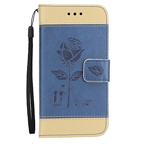 Couleurs mélangées Rose Flower givré Premium PU Leather Wallet Stand Case Cover avec Lanyard & Card Slots pour iPhone X ( Color : Brown ) Blue