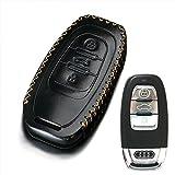 Echtes Leder 3Knopf Auto Key Cover Keyless-Hülle Fall für Audi A1A3A4A5A6Q3Q5Q7, TT RS S3R8