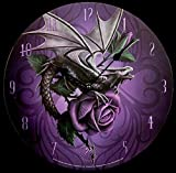 Wanduhr mit Drache | Dragon Beauty von Anne Stokes | Fantasy Uhr Gothic Rosen