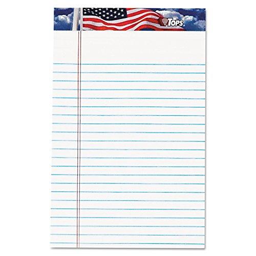 Tops American Pride Writing Tablet, 12,7x 20,3cm, perforiert, weiß, schmal, Rule, 50Blatt pro Block, 12Pads pro Pack (75101) -