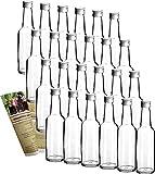 gouveo 24er Set Leere Glasflaschen Bordeaux 250 ml incl. Schraubverschluss und Flaschendiscount-Rezeptbroschüre zum selbst Abfüllen Likörflasche Schnapsflasche Flaschen