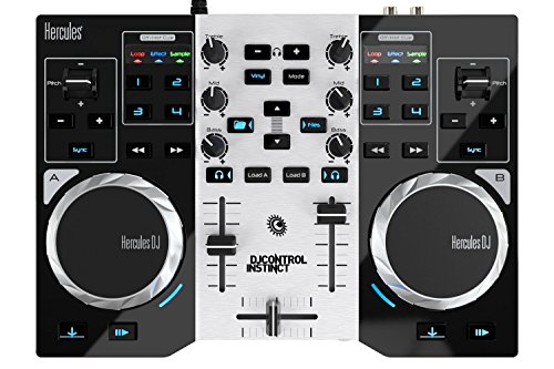 Hercules DJControl Instinct S series, ultra-mobile USB DJ Controller with Audio Outputs for use with your Headphones and your Speakers