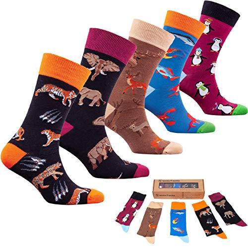 socks n socks-Männer 5 pk Bunte Baumwolle Neuheit Wilden Tiere Jäger Socken Geschenkbox Einheitsgröße - Socke-tier-mustern
