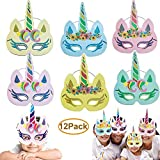 Dusenly 12 Piezas de máscaras de Unicornio - Gold Glitter Rainbow Unicorn Masks Party Cosplay Birthday Baby Shower Supplies (Multicolor)