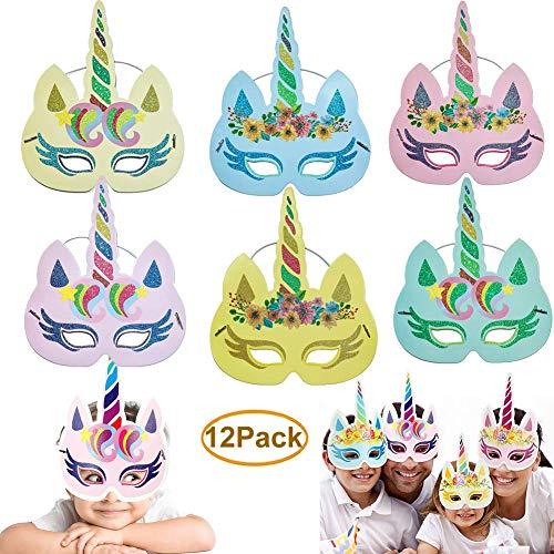Dusenly 12 Piezas máscaras Unicornio - Gold Glitter