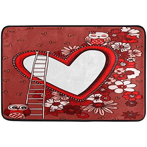 Antiscivolo zerbini,san valentino love owls cornice cuore fiori decorazioni per la casa tappetini antiscivolo ingresso ingresso tappeto soggiorno camera da letto tappeti per porta d'ingresso gara