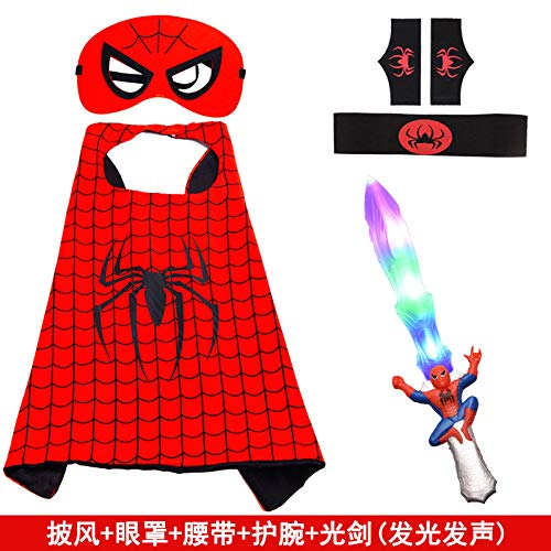 POIUYT Halloween Kinder Cosplay Kostüm Spider-Man Umhang Wrist Launcher Glowing Mask Schal Cape Cloak Set 70cm Schal,Package8
