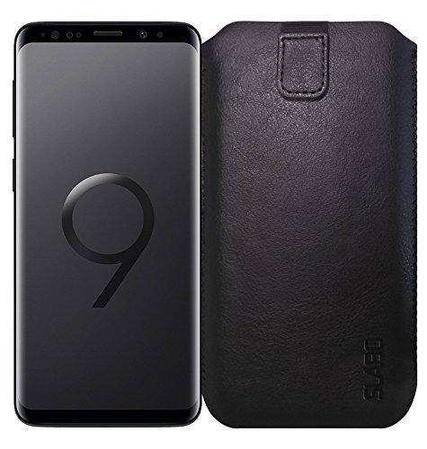Slabo® Schutzhülle für Samsung Galaxy S9 Schutztasche Handyhülle Case mit Magnetverschluss aus PU-Leder - SCHWARZ | Black